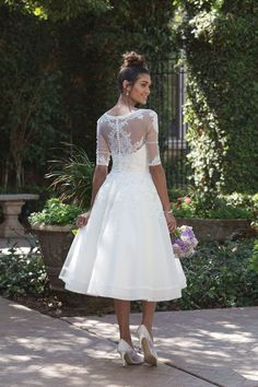 85b68a43ce3 Sincerity Bridal - Style 4000  Lace Trimmed Tea-Length Dress with Elbow  Length Sleeve