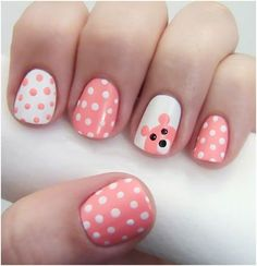 Cute baby shower nails art for a girl(:
