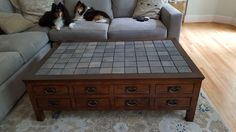 Clever Replacement Top For A Coffee Table Using Grey 4x4 Stone Mosaic Tiles