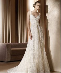 Comfortable Loose A Line Spaghetti Straps Empire Lace Satin Chapel Train Wedding Frock In Canada Wedding Dress Prices