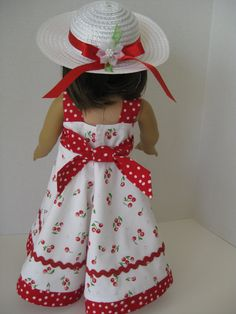 Cherry Print Sundress with White Straw Hat by toocutedolldesigns