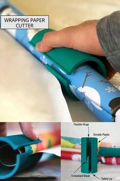 Wrapping Paper Cutter The outdated way of cutting wrapping paper has never worked, because the slice is either jagged, ripped, or crooked. This is frustrating. Now use our Wrapping Paper Cutter, to open a safe and easy way for cutting wrapping paper. Diy Crafts Videos, Diy Crafts To Sell, Christmas Wrapping, Christmas Crafts, Christmas Holidays, Cool Inventions, Useful Life Hacks, Gift Wrapping, Paper Wrapping