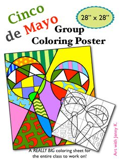 """Create this large (approx. 28"""" x 28"""") group coloring poster to add some color to your Fiesta celebration this year for Cindo de Mayo! Students will work together to create this group poster!!!"""