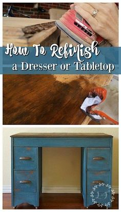 A 2 part post that walks through sanding, re-staining, and applying a topcoat on a wood dresser or table top. Filled with pictures that illustrate the process!  http://LostandFoundDecor.com