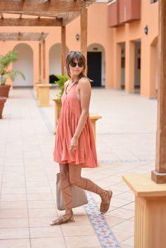 EJSTYLE - Emma Hill wears asos terracotta pom pom trim summer dress, asos round bridge 70s sunglasses, ASOS tan grecian gladiator sandals, ASOS beige suede bag, asos gold body harness, asseenonme