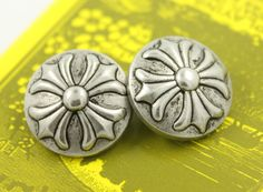 Baroque Cross Metal Buttons , Retro Silver Color , Shank , 0.79 inch , 10 pcs by Lyanwood, $6.00