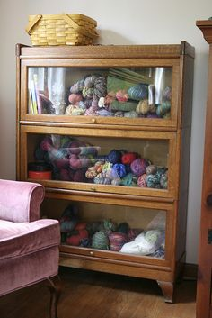 Ooo old Apothecary style storage I have this cabinet at home, it's nice to put my yarn in. awesome cabinet for yarn storage Yarn Storage, Craft Room Storage, Knitting Storage, Blanket Storage, Fabric Storage, Craft Rooms, Bathroom Storage, Storage Ideas, Knitting Room