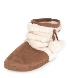 Teens Tan Faux Fur Pom Pom Slipper Boots