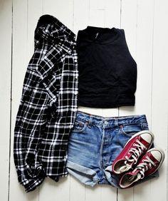 Jacket button up shirt t-shirt shorts high waisted short flannel shirt converse chuck taylor crop tops black crop top jean shorts