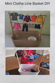 Dollar Store Montessori Activity - Practical life - Clothesline Basket DIY (easy and affordable)
