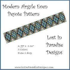 Modern Argyle Even Peyote Bracelet Pattern