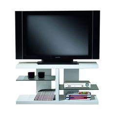 #Mueble para #televisión color #blanco lacado con original diseño con forma de H y dos baldas en #cristal templado de 8 mm con #ruedas