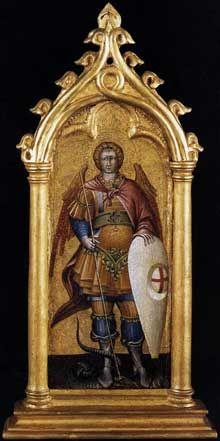 Giovanni di Paolo: saint Michel Archange. Vers 1440. Tempera et or sur bois, 19 x 8 cm. Vatican, Pinacothèque