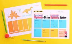Designs for on trend printable weekly planners - dinosaurs, buses and taxis Planner Pdf, Weekly Planner Template, Craft Decorations, Decor Crafts, Fun Crafts, Planners, Happy Week, Organize Your Life, Crafty Kids