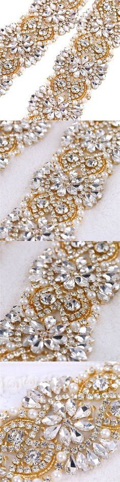 Other Bridal Accessories 106128: Fangzhidi Rhinestone Belt Applique,Gold Crystal Trim By The Yard, Bridal Sash Be -> BUY IT NOW ONLY: $55.49 on eBay!