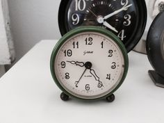 Small Green Vintage Clock Germany by blondiensc on Etsy