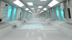 Futuristic corridor interior and city by Miguel Angel Aguirre                                                                                                                                                                                 More