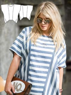 A chic combination of the stripes results in a relaxed shirt with an interesting flowing effect. This cut is also a great one for a breezy beach tunic, just adjust the pattern to lengthen it at the hem by at least 30 cm (apx. 12 inches)!