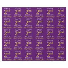 "Purple Faux Gold ""HAPPY 2nd BIRTHDAY"" Wrapping Paper - faux gifts style sample design cyo"