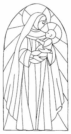 madonne2.gif (423×794) Stained Glass Quilt, Faux Stained Glass, Stained Glass Patterns, Stencil Printing, Stencil Art, Stained Glass Christmas, Christmas Art, Colouring Pages, Coloring Books
