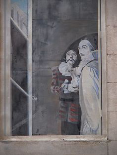Trompe l'oeil, one of several painted illusions on a wall near the Palais des Papes, Avignon. French Essence Blog, 16 January 2012