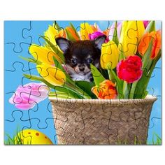 "Easter Chihuahua Puzzle 30 pieces (7.5"" x 9.5"")  #easter #chihuahua #chihuahuas #puzzle #puzzles #giftideas #tulips #dog #pet"
