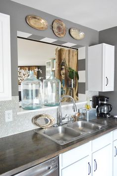 House Crashing: A Cozy & Creative Townhouse | Young House Love. Love the stripes. Might be cute on the arch in the diningroom. Kitchen Pass, New Kitchen, Kitchen Dining, Kitchen Decor, Kitchen Ideas, Kitchen Colors, Kitchen Inspiration, Dining Room, Pass Through Window