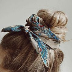 Head scarf and Bow accessories are super fun to play with! Headscarf tying hairstyles add the cutest hair accessory to any look! Try this boho style!  headband hairstyles, headband braid, topknot Headbands,Headband & Hair Bow Inspiration, head scarf styles, head scarf head scarf styles for natural hair