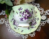 Aynsley Violette Teacup Tea Cup and Saucer - Violets on Minty Green 8424 $35.00