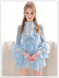 clothes frilly-but-I-want-you-AMS Short chiffon dress in pastel blue with white Rococo lace accents & tiered bell sleeves