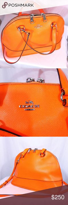 """Coach Neon Orange Peyton Cora Domed Satchel Sample Part of my authentic sample bag boutique collection, this Coach bag is:  -- a unique sample/prototype bag  -- was not intended to be sold in stores  Main differences from retail bags & this one are:  -- Base of straps is near top of bag instead of lower  -- Coach logo is not oval  Bag is lined, has 2 strap sizes (long is adjustable), & card denoting bag as a sample at factory is included. Approx. 14""""L x 8""""H x 6""""D  Good collectors piece. Pics…"""