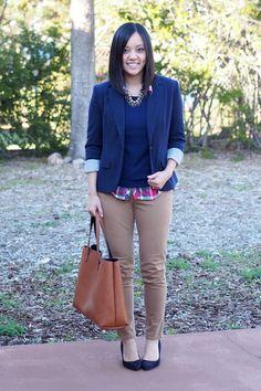 plaid button-up (or white), blue or black sweater, navy or black blazer