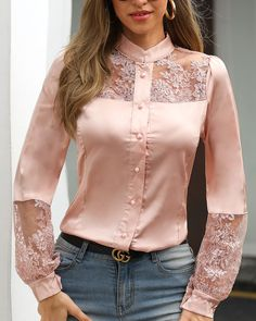 Lace Patchwork Long Sleeve T Shirt Women Single Breasted Pink Tshirt Elegant Office Ladies Work Wear Shirts Blusa Femme, PINK / M - Lace Patchwork Long Sleeve T Shirt Women Single Breasted Pink Tshirt Elegant Office Ladies Work Wea - Blouse Styles, Blouse Designs, Modest Fashion, Fashion Dresses, Trend Fashion, Outfit Trends, Satin Blouses, Embroidery Dress, Pattern Fashion