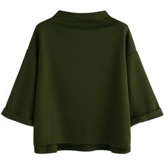 SheIn(sheinside) Army Green Funnel Neck Cuffed T-shirt (161.480 IDR) ❤ liked on Polyvore featuring tops, t-shirts, green, high neck t shirt, green t shirt, stretch t shirt, olive green t shirt and 3/4 length sleeve tops