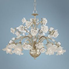 This striking champagne silver chandelier is overflowing with beautiful rose accents. wide x high x canopy is wide x hang weight is lbs. Takes five 60 watt candelabra bulbs (not included). Style # at Lamps Plus. French Country Lighting, Room Wanted, Silver Chandelier, Candelabra Bulbs, Room Colors, Beautiful Roses, Light Fixtures, Champagne, Ceiling Lights