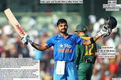 Virat Kohli celebrates his hundred, India v South Africa, 4th ODI, Chennai, October 22, 2015