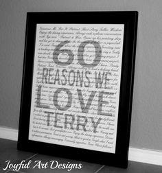 Reasons I Love You PRINTABLE Wall Art.  Personalized Birthday Anniversary Wedding Gift.  Customized DIGITAL file