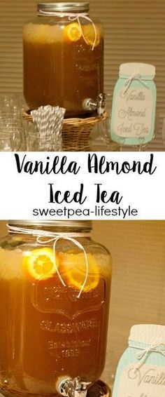Delicious southern sweet tea, with the added flavors of vanilla and almond extract. This is my go to drink when serving a crowd! Super refreshing, made in advance, and always perfect for that special gathering! Southern Sweet Tea, Southern Comfort, Thanksgiving Drinks, Thanksgiving 2017, Iced Tea Recipes, Punch Recipes, Yummy Recipes, Recipies, Blender Recipes