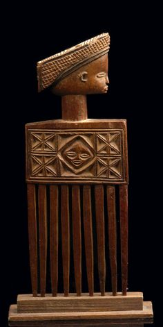 Africa | Hair comb from the Chokwe people of DR Congo | Carved wood |Pinned from PinTo for iPad|