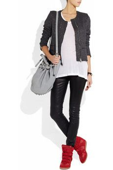 Isabel Marant Sneakers, leather leggings, white T and box jacket. Can do this all minus the Wang bag, do my green Balenciaga