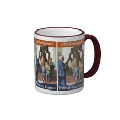 Visit Philadelphia on The Pennsylvania Railroad Coffee Mugs -$18.95 - Visit Philadelphia on The Pennsylvania Railroad. This colorful poster was issued by the PRR in 1950. It has a typical family standing in front of the Liberty Bell in Independence Hall,Philadelphia Pennsylvania.