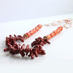 Rama de collar de Coral rojo naranja cobre por rubyskydesign