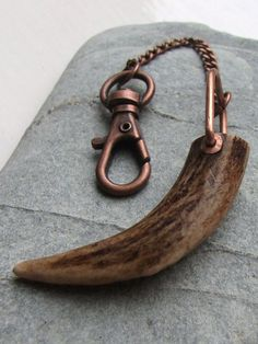 Naturally Shed Antler Copper Keychain Key by RowanSongCrafts
