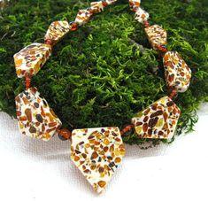 Mosaic Amber Necklace Genuine Baltic Amber geometric by SanaGem