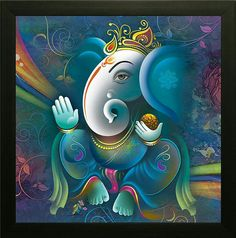 Lord Ganesha son of Lord Shiva and parvathi And Gapathi Ji is prayed to gain wisdom success and luck. Before starting any business people go ganapathi homan to succeed in the business with out any hurdles. And many also place ganesh photo frames in home. Lord Ganesha Paintings, Ganesha Art, Krishna Painting, Sri Ganesh, Ganesha Rangoli, Baby Ganesha, Ganesha Tattoo, Krishna Art, Ganesha Pictures
