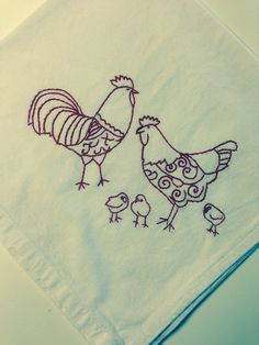 Red work hand embroidered dish towels featuring Roosters Hens and Chicks! on Etsy, $12.50