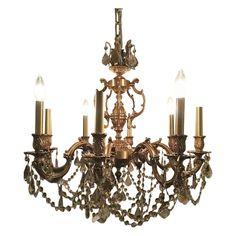A French brass chandelier with custom Swarovski Strass crystals. Entry Chandelier, Chandelier Lighting Fixtures, French Chandelier, Vintage Chandelier, Chandelier Pendant Lights, Chandeliers, Bubble, Baroque, Swarovski Crystals
