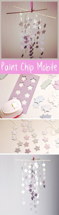DIY: Chic Upcycled Paint Chip Mobile Upcycle paint chips into cute wedding mobiles.Upcycle paint chips into cute wedding mobiles. Paint Chip Mobile, Paint Chip Art, Paint Chips, Baby Crafts, Diy And Crafts, Crafts For Kids, Diy Décoration, Easy Diy, Diy Mobile