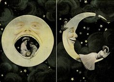 Man in the Moon and Lovers Vintage Postcard 1906