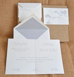 Invitaciones de boda con sobre forrado en mil rayas y tarjetas de agradecimiento by Silvia Galí. www.silviagali.com